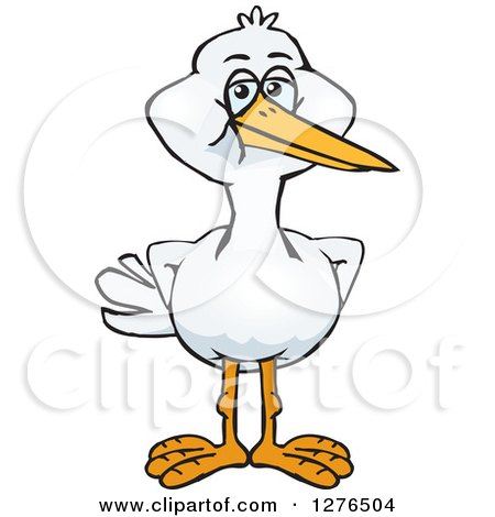 Clipart of a Stork Standing - Royalty Free Vector Illustration by Dennis Holmes Designs