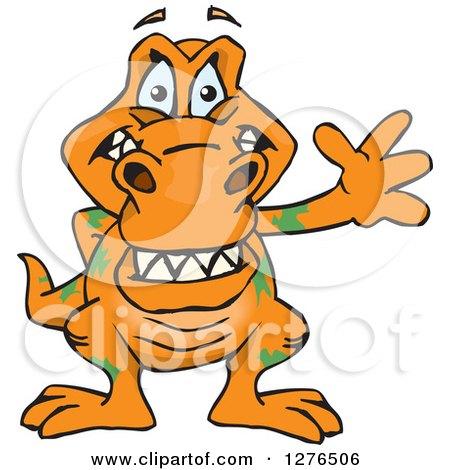 Clipart of a Happy Orange Tyrannosaurus Rex Waving - Royalty Free Vector Illustration by Dennis Holmes Designs
