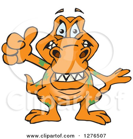Clipart of a Happy Orange Tyrannosaurus Rex Holding a Thumb up - Royalty Free Vector Illustration by Dennis Holmes Designs
