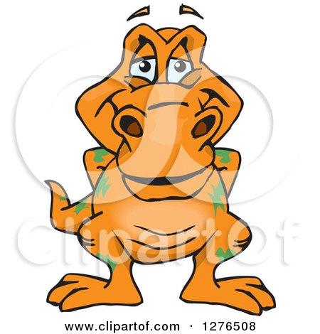 Clipart of a Happy Orange Tyrannosaurus Rex - Royalty Free Vector Illustration by Dennis Holmes Designs