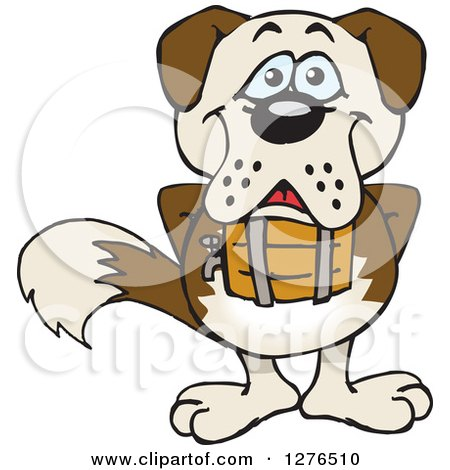 Clipart of a Happy St Bernard Dog Standing - Royalty Free Vector Illustration by Dennis Holmes Designs