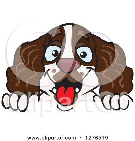 Clipart of a Happy English Springer Spaniel Peeking over a Sign - Royalty Free Vector Illustration by Dennis Holmes Designs