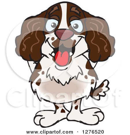 Clipart of a Happy English Springer Spaniel Standing - Royalty Free Vector Illustration by Dennis Holmes Designs