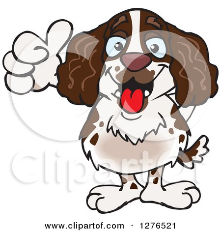 Clipart of a Happy English Springer Spaniel Giving a Thumb up - Royalty Free Vector Illustration by Dennis Holmes Designs