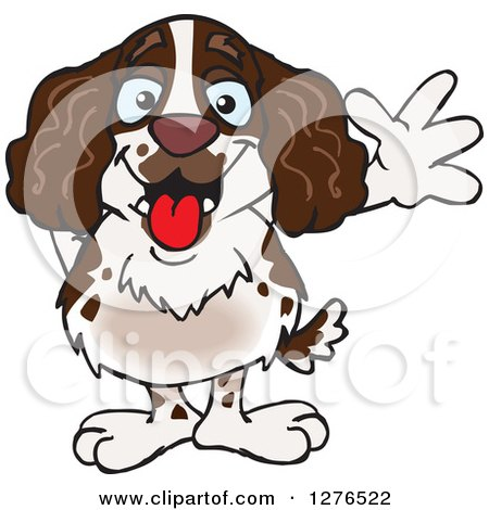 Clipart of a Happy English Springer Spaniel Waving - Royalty Free Vector Illustration by Dennis Holmes Designs