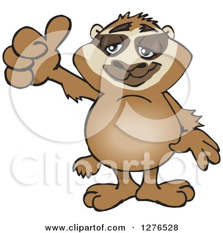 Clipart of a Happy Sloth Holding a Thumb up - Royalty Free Vector Illustration by Dennis Holmes Designs