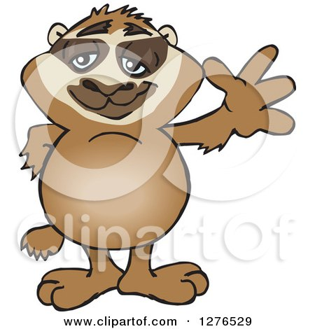Clipart of a Happy Sloth Standing and Waving - Royalty Free Vector Illustration by Dennis Holmes Designs