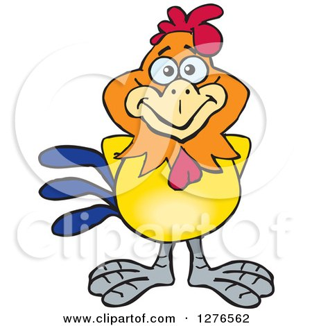 Clipart Of A Happy Rooster Royalty Free Vector Illustration