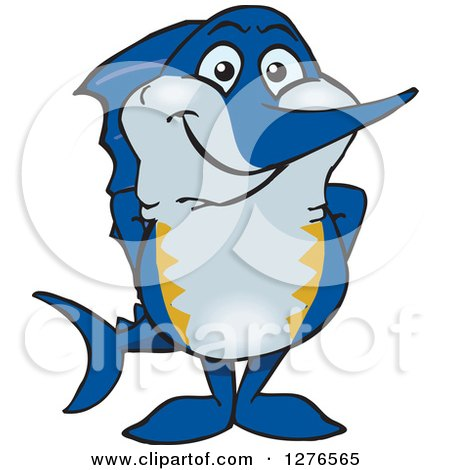 Clipart of a Happy Marlin Fish - Royalty Free Vector Illustration by Dennis Holmes Designs