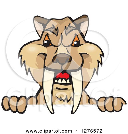 Clipart of a Saber Toothed Tiger Peeking over a Sign - Royalty Free Vector Illustration by Dennis Holmes Designs