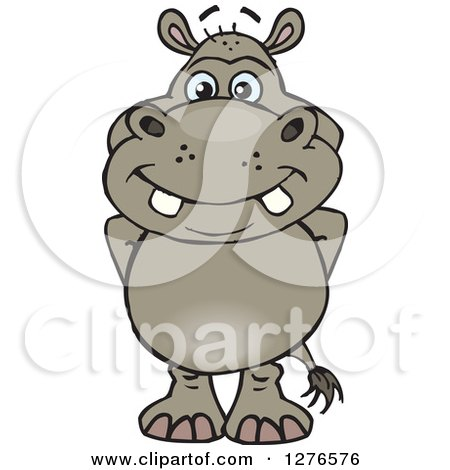 Clipart of a Happy Hippo Standing - Royalty Free Vector Illustration by Dennis Holmes Designs