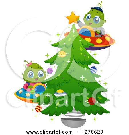 Clipart of Happy Cute Alien Kids Flying UFOs and Decorating a Christmas Tree - Royalty Free Vector Illustration by BNP Design Studio