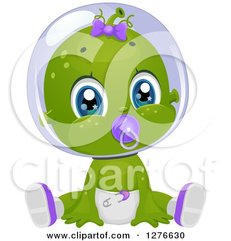 Clipart of a Cute Baby Girl Alien Sucking on a Pacifier and Sitting in a Diaper - Royalty Free Vector Illustration by BNP Design Studio