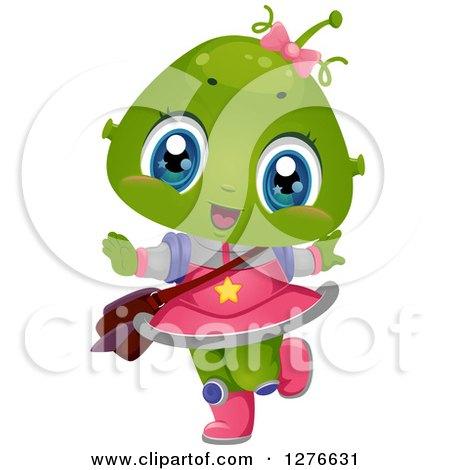 Clipart of a Happy Alien School Girl Dancing - Royalty Free Vector Illustration by BNP Design Studio