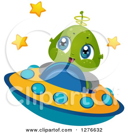 Clipart of a Happy Cute Alien Boy Flying a UFO - Royalty Free Vector Illustration by BNP Design Studio