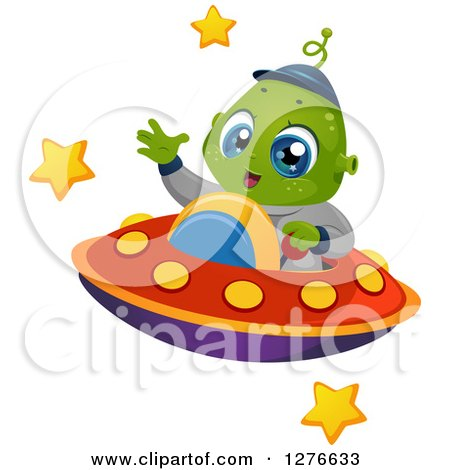Clipart of a Happy Cute Alien Boy Waving and Flying a UFO - Royalty Free Vector Illustration by BNP Design Studio