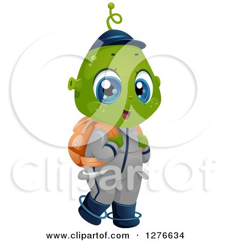 Clipart of a Happy Student Alien Boy Wearing a Backpack - Royalty Free Vector Illustration by BNP Design Studio