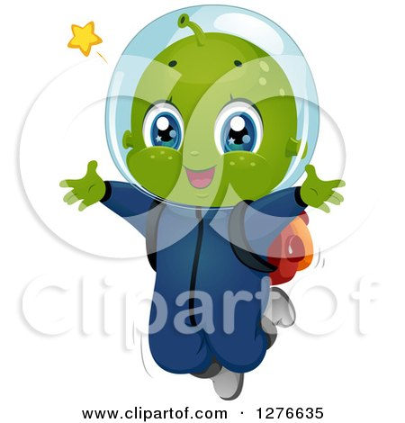 Clipart of a Happy Alien Boy Jumping - Royalty Free Vector Illustration by BNP Design Studio
