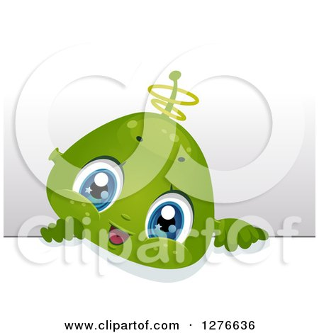 Clipart of a Cute Alien Baby Boy Looking over a Board - Royalty Free Vector Illustration by BNP Design Studio
