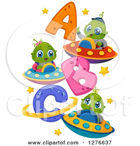Clipart of Happy Cute Alien Kida Flying UFOs by Abc - Royalty Free Vector Illustration by BNP Design Studio