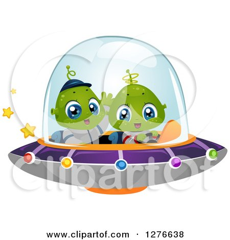 Clipart of a Happy Cute Alien Kids Flying a UFO - Royalty Free Vector Illustration by BNP Design Studio