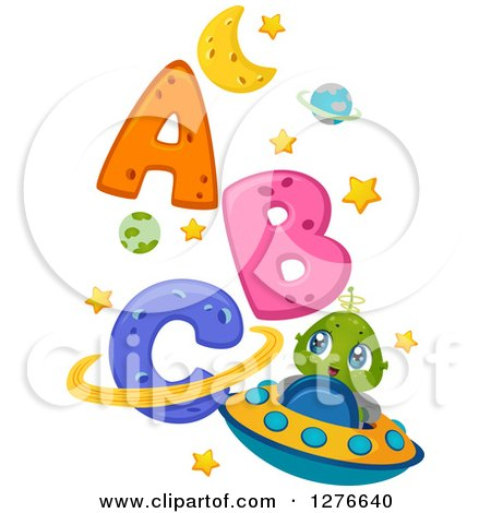 Clipart of a Happy Cute Alien Kid and Flying a UFO by Abc - Royalty Free Vector Illustration by BNP Design Studio