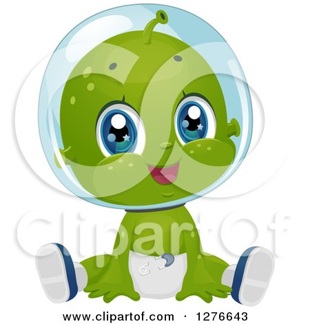 Clipart of a Cute Baby Boy Alien Sitting in a Diaper - Royalty Free Vector Illustration by BNP Design Studio
