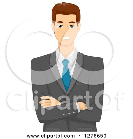 Clipart of a Happy Brunette White Businessman Standing with Folded Arms - Royalty Free Vector Illustration by BNP Design Studio