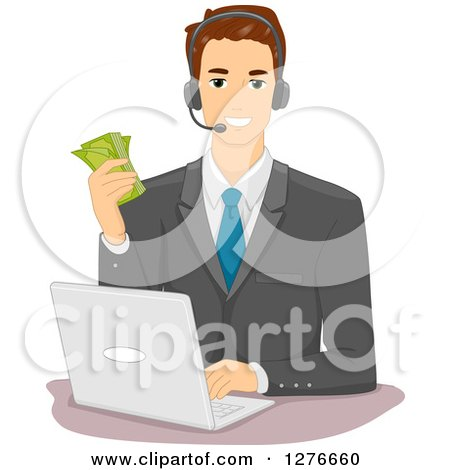 Clipart of a Brunette White Businessman Holding Cash, Wearing a Headset and Working on a Laptop - Royalty Free Vector Illustration by BNP Design Studio