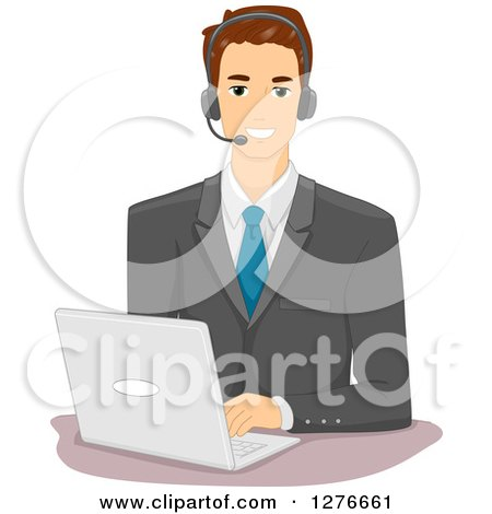 Clipart of a Brunette White Businessman Wearing a Headset and Using a Laptop Computer - Royalty Free Vector Illustration by BNP Design Studio