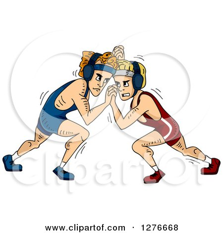 Clipart of White Male Wrestlers Grappling - Royalty Free Vector Illustration by BNP Design Studio