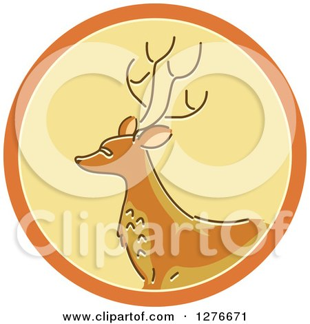 Clipart of a Buck Deer Hunting Icon - Royalty Free Vector Illustration by BNP Design Studio