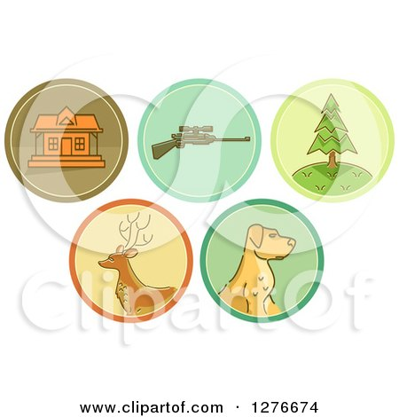 Clipart of Hunting Icons - Royalty Free Vector Illustration by BNP Design Studio