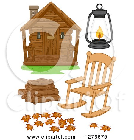 Clipart of a Log Cabin, Rocking Chair, Lantern, Logs and Fallen Leaves - Royalty Free Vector Illustration by BNP Design Studio