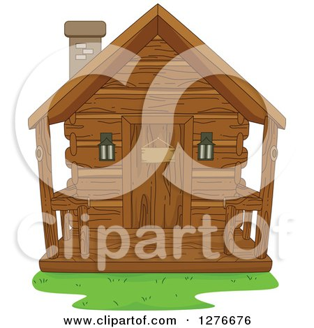 Clipart of a Wooden Cabin - Royalty Free Vector Illustration by BNP Design Studio