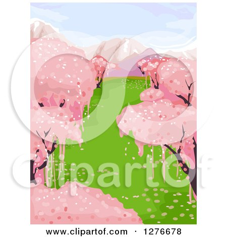 Clipart of a Background of Pink Cherry Blossom Trees and Snow Capped Mountains - Royalty Free Vector Illustration by BNP Design Studio