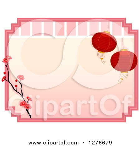 Clipart of an Asian Border with Red Lanterns and Cherry Blossoms - Royalty Free Vector Illustration by BNP Design Studio