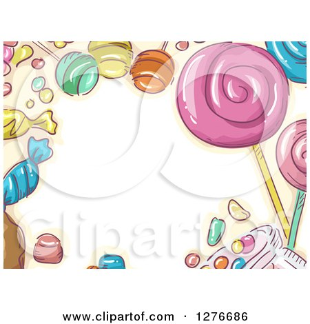 Clipart of a Sketched Candy Border Around Text Space - Royalty Free Vector Illustration by BNP Design Studio