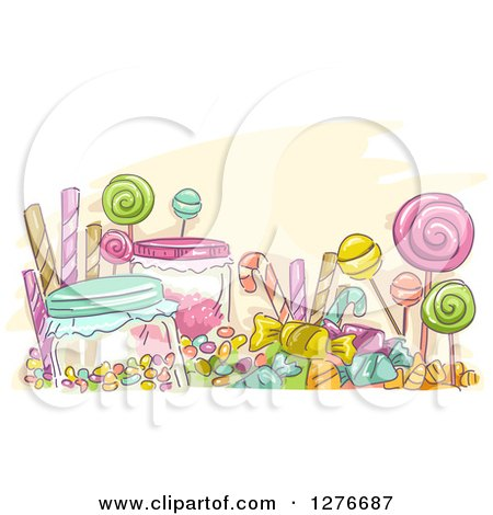 Clipart Of A Sketch Of Colorful Candies Royalty Free Vector Illustration