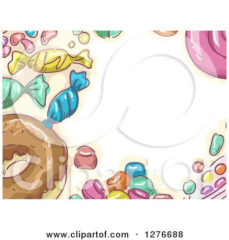 Clipart of a Sketched Candy and Donut Border Around Text Space - Royalty Free Vector Illustration by BNP Design Studio