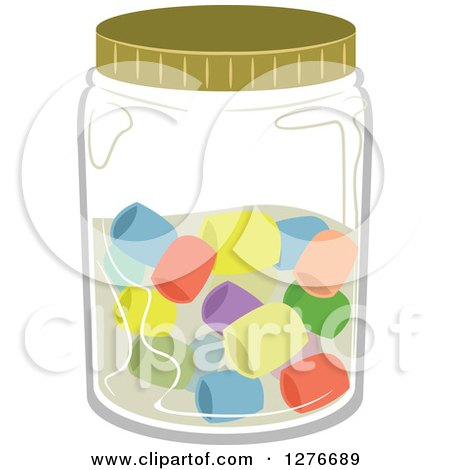 Clipart of a Jar with Colorful Candies - Royalty Free Vector Illustration by BNP Design Studio