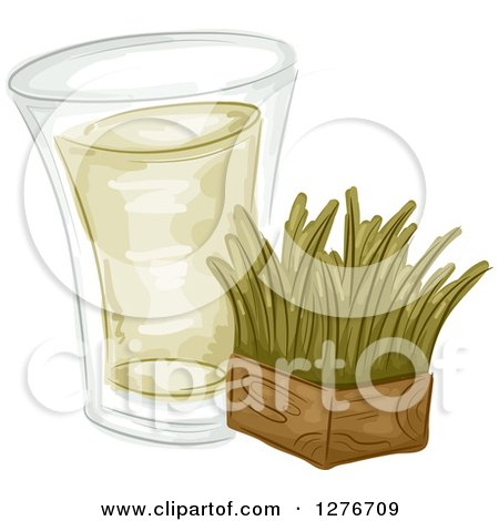Clipart of a Shot of Wheat Grass and a Block - Royalty Free Vector Illustration by BNP Design Studio