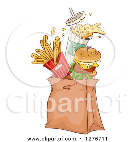Clipart of a Cheeseburger, Soda and French Fries Jumping out of a Takeout Paper Bag - Royalty Free Vector Illustration by BNP Design Studio
