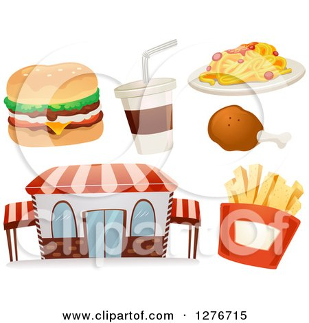 Clipart of a Fast Food Restaurant Building with a Cheeseburger, Soda, Chicken Drumstick, Spaghetti and French Fries - Royalty Free Vector Illustration by BNP Design Studio