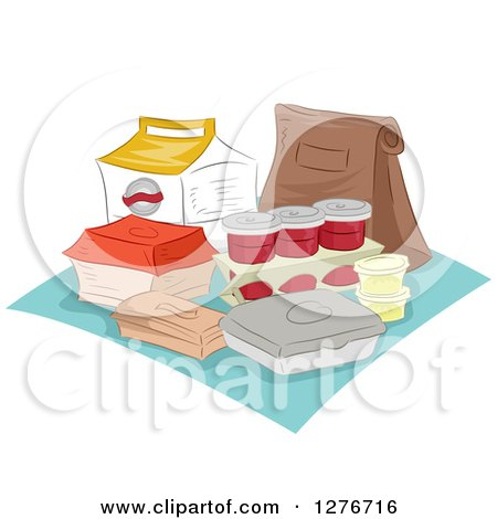 Clipart of a Picnic with Takeout Containers - Royalty Free Vector Illustration by BNP Design Studio