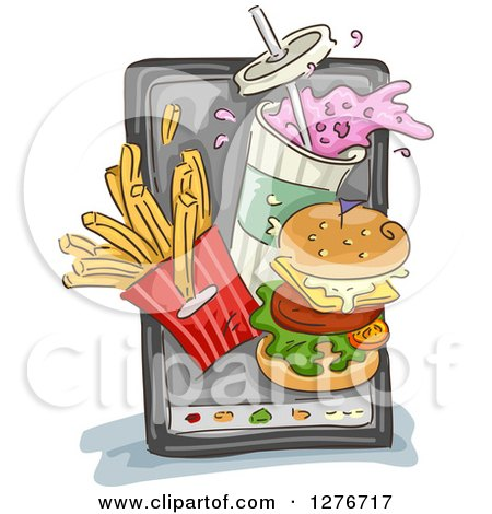 Clipart of a Sketched Smart Phone with Fast Food Items Popping out from the Screen - Royalty Free Vector Illustration by BNP Design Studio