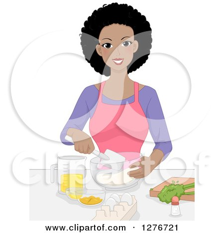 Clipart of a Happy Young Black Woman Mixing Ingredients and Baking - Royalty Free Vector Illustration by BNP Design Studio