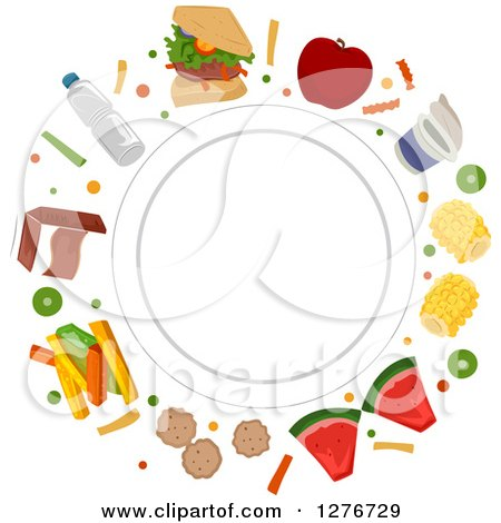 Clipart of a White Plate Encircled with Healthy and Junk Foods - Royalty Free Vector Illustration by BNP Design Studio