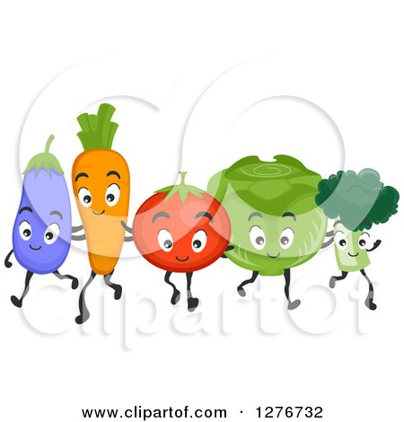 Clipart of a Happy Eggplant, Carrot, Tomato, Cabbage and Broccoli Walking Together - Royalty Free Vector Illustration by BNP Design Studio