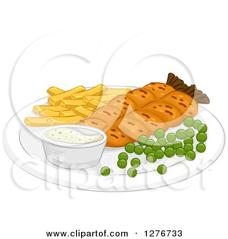 Clipart of a Meal of Fish and Chips with Peas - Royalty Free Vector Illustration by BNP Design Studio
